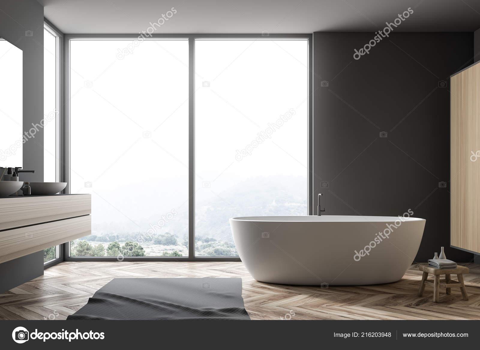 Tappeti Da Bagno Eleganti : Interno bagno grigio elegante con pavimento legno tappeto grigio
