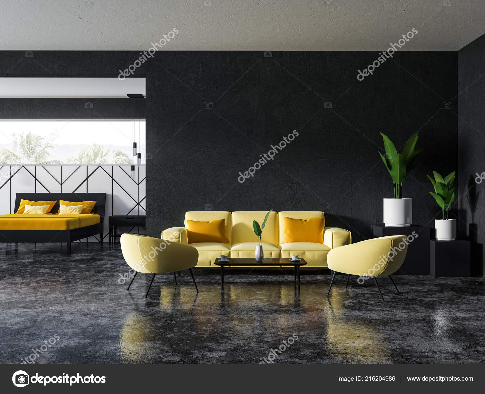 Interieur Aus Grau Und Weiß Wohnzimmer Mit Weiche Gelbe Couch ...