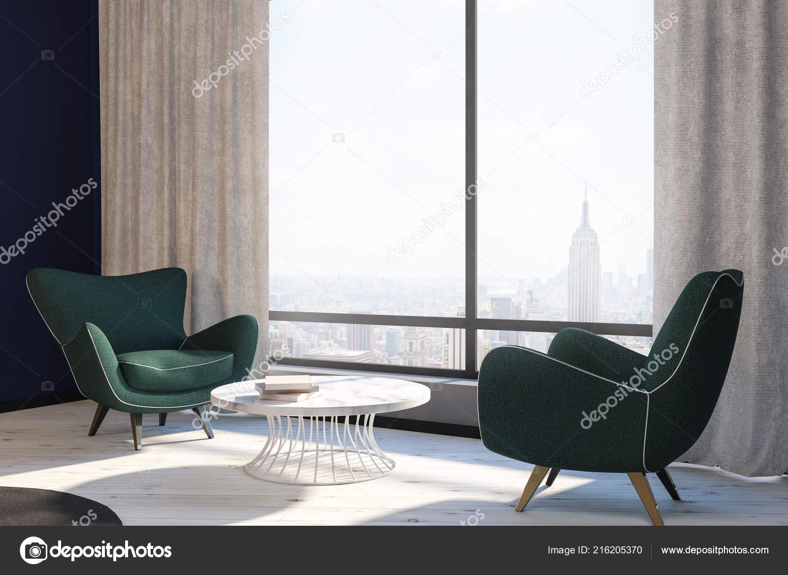 Seitenansicht Des Modernen Wohnzimmer Interieur Mit Zwei ...