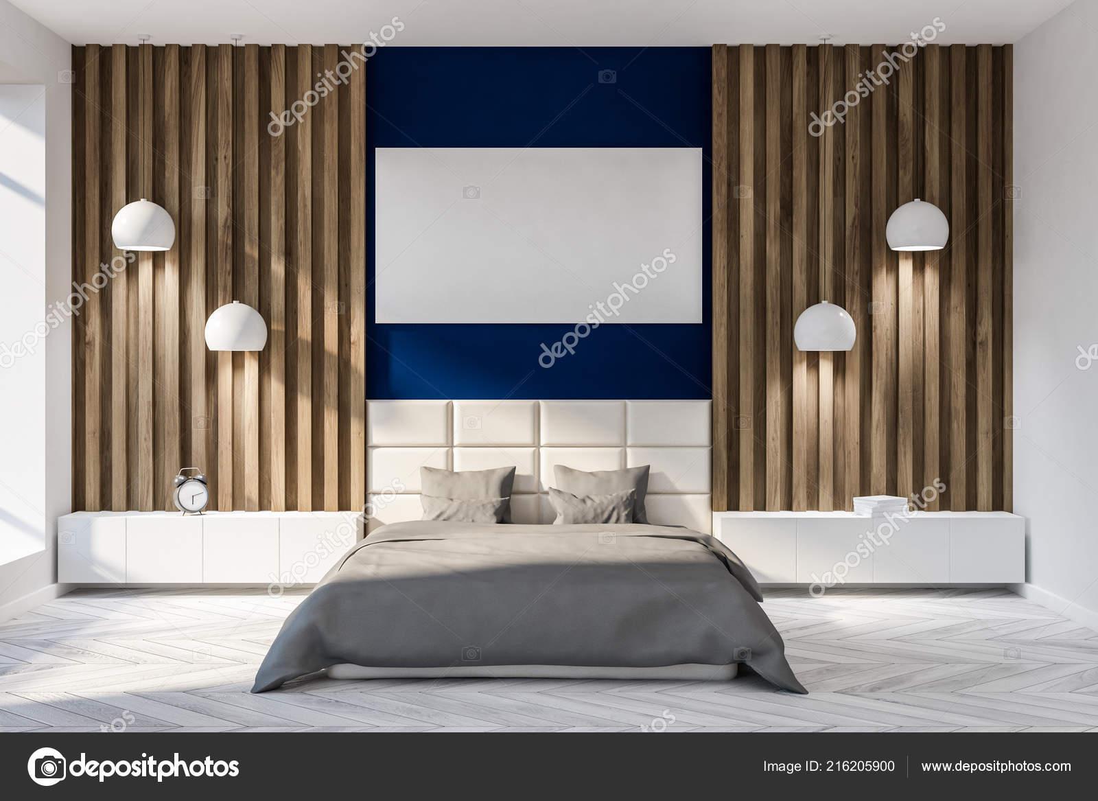 Moderne slaapkamer interieur met donker blauwe houten muren een
