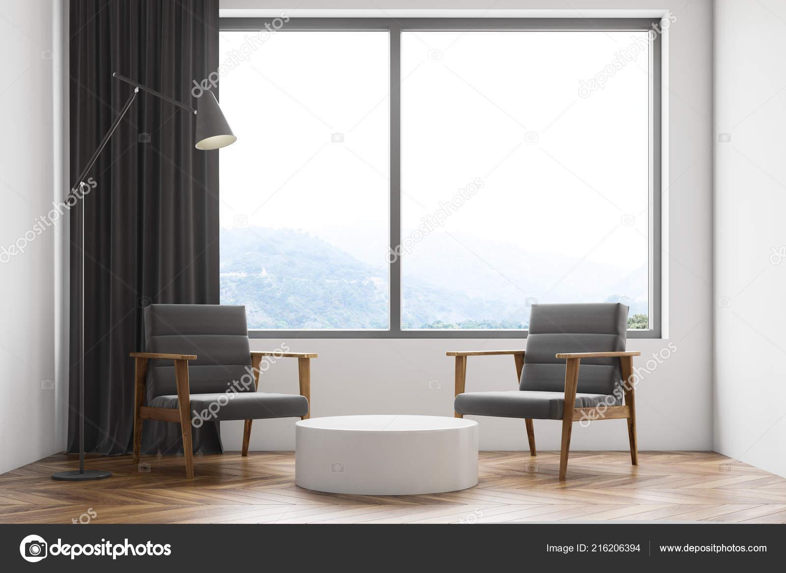 Intérieur Salon Blanc Minimaliste Avec Plancher Bois Deux ...