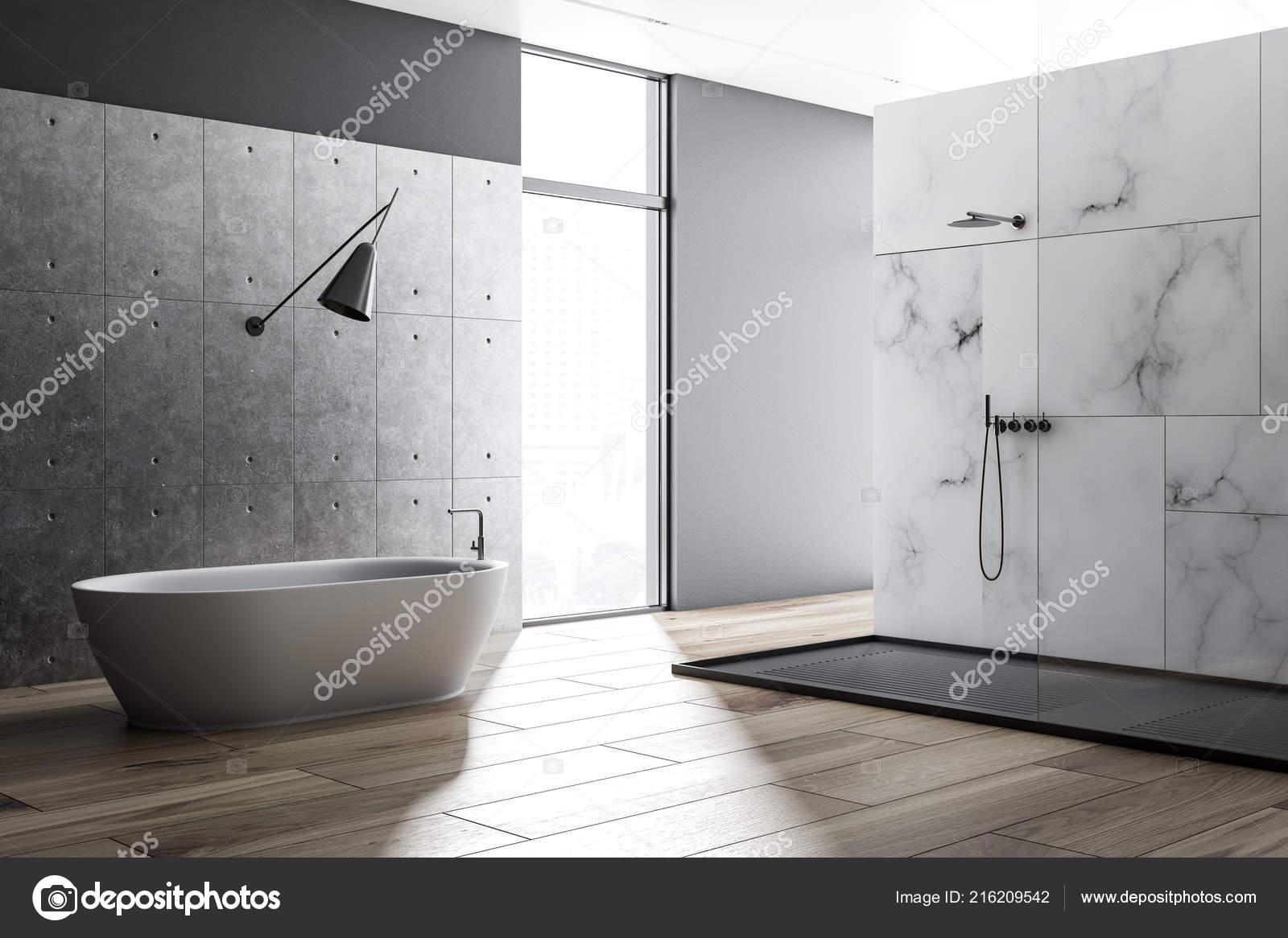 Weißer Marmor Badezimmer Interieur Mit Einem Holzfußboden Eine Weiße ...