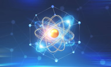 Glowing gold and blue atom model and network interface over dark blue background. Concept of science, chemistry and physics. 3d rendering copy space toned image double exposure