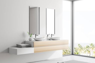 Side view of double sink on a wooden countertop with two vertical mirrors and a shelf with towels. White walls. Concept of luxury hotel or mansion on ocean bank. 3d rendering copy space