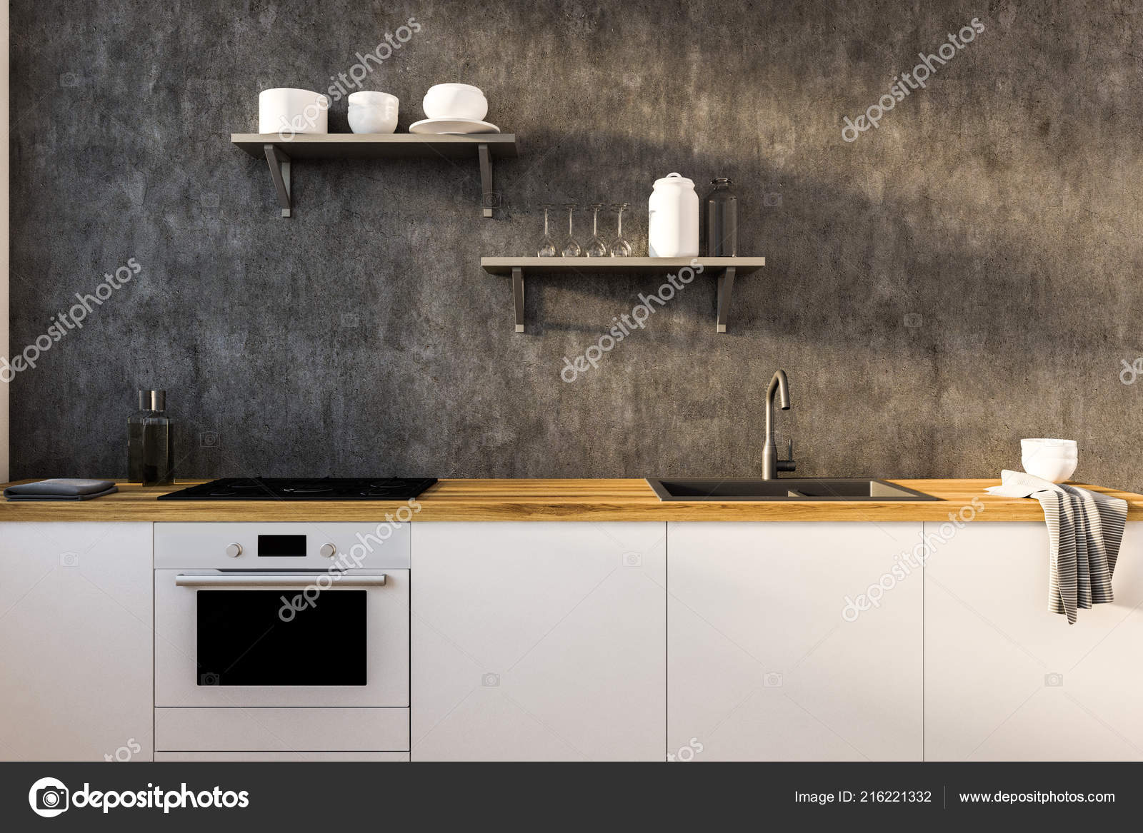 Interiore Della Cucina Grigia Bianca Con Ripiani Legno ...