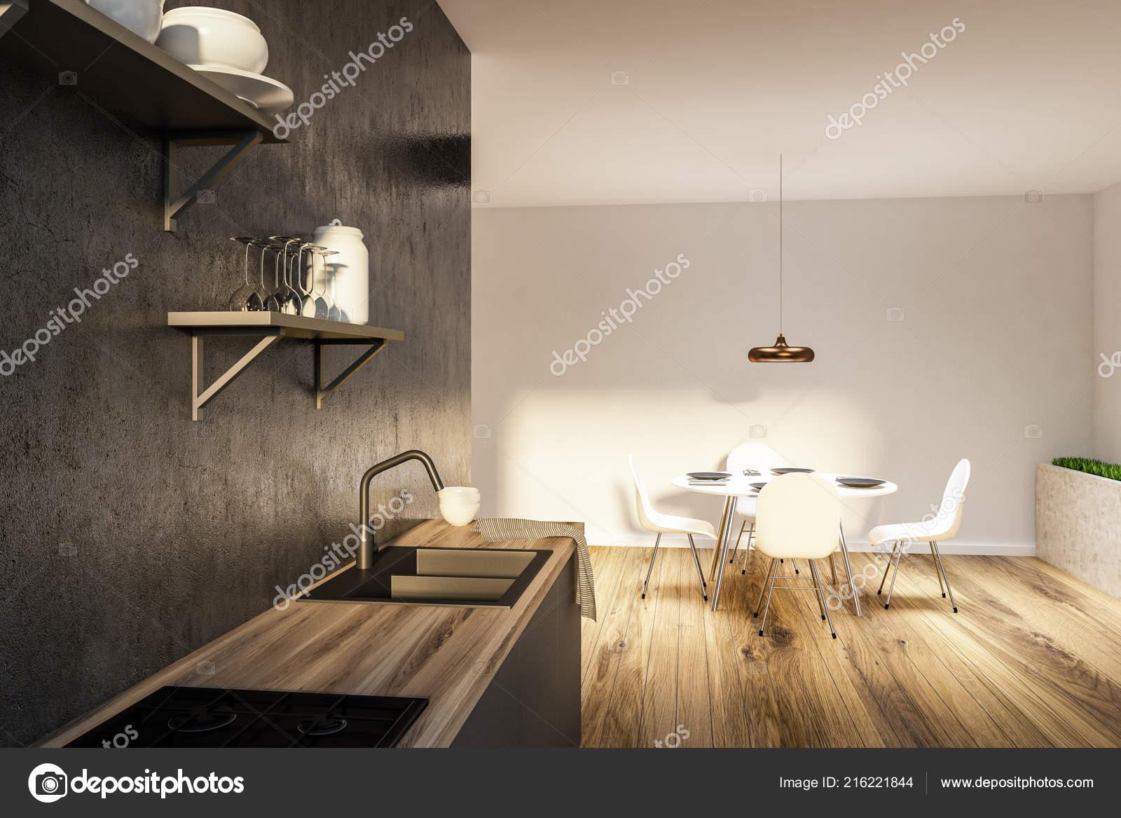 Interiore Della Cucina Grigia Bianca Con Pavimento Legno ...