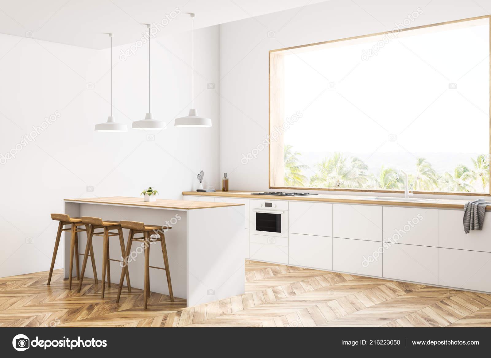 Biała Kuchnia Narożna Drewniana Podłoga Duże Okna Widokiem