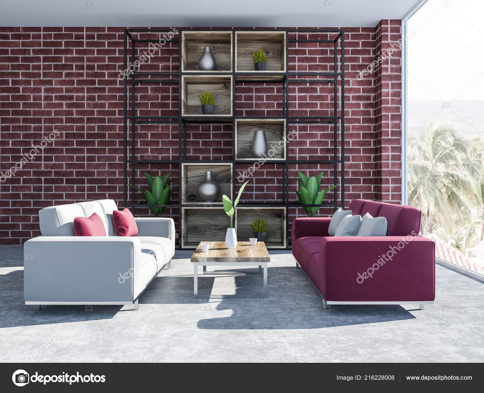 Brique Salon Intérieur Avec Plancher Béton Placard Avec Des Vases U2014 Photo