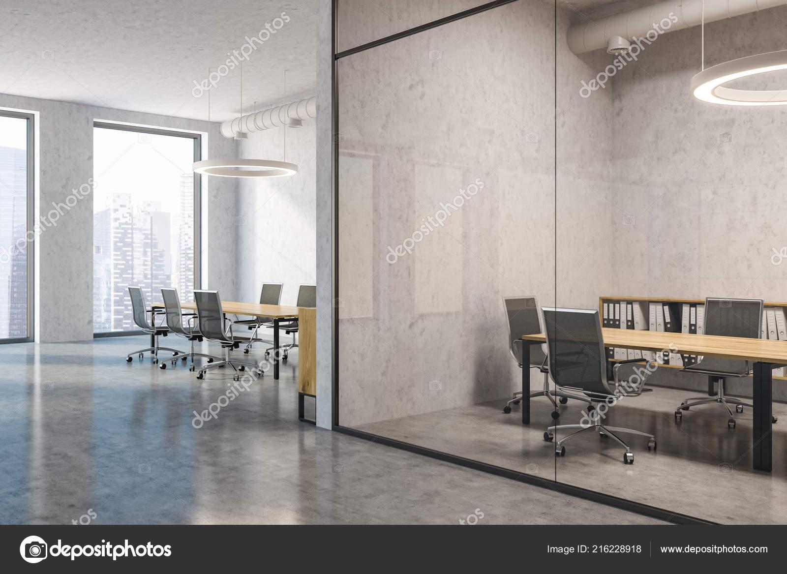 Beton In Interieur : Industrielle konferenz zimmer interieur mit beton und glas wände