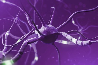 Close up of gray purple with glowing segments over purple background. Neuron interface and computer science concept. 3d rendering copy space