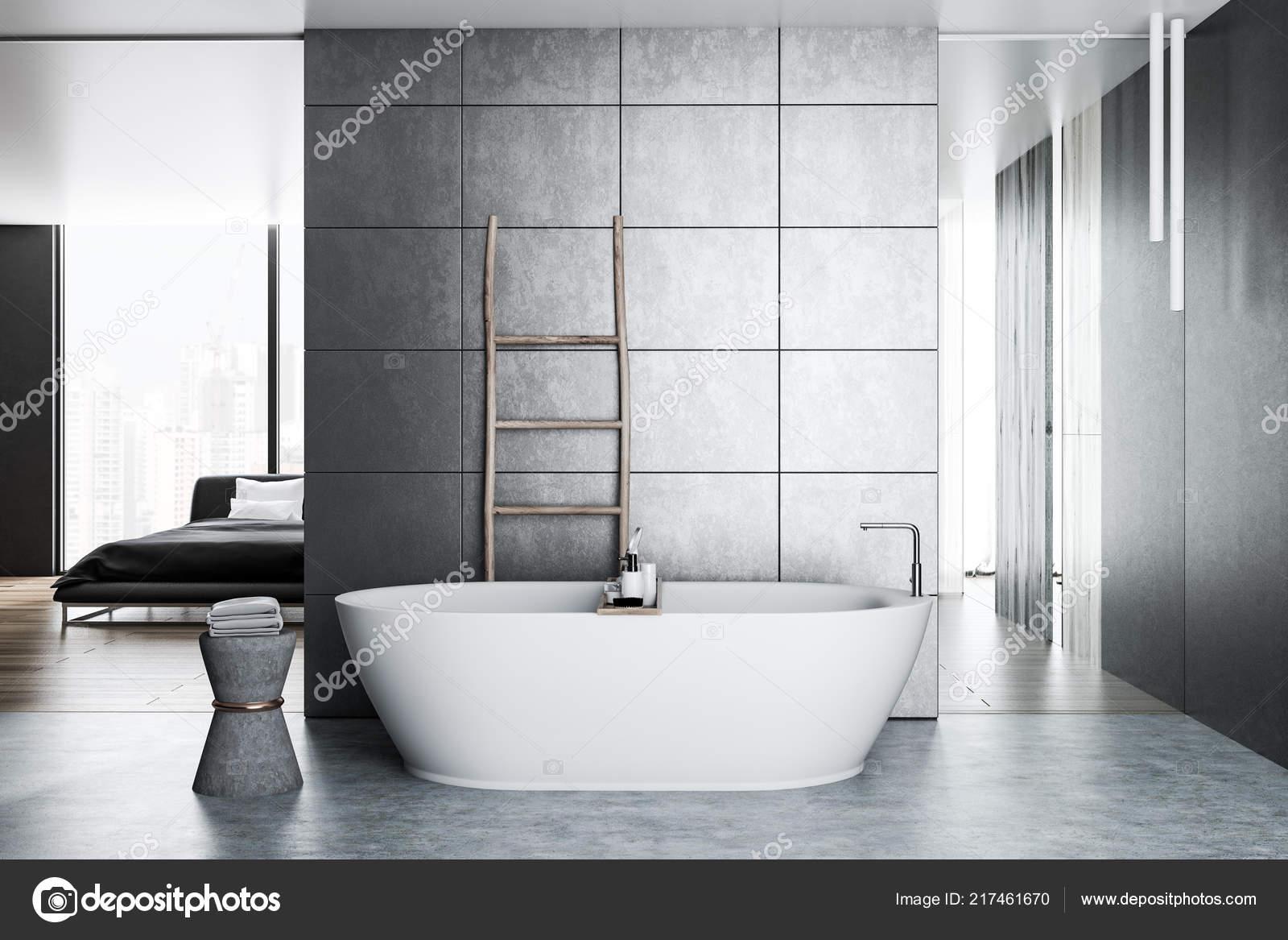 Interno del bagno lusso con piastrelle grigie pareti pavimento