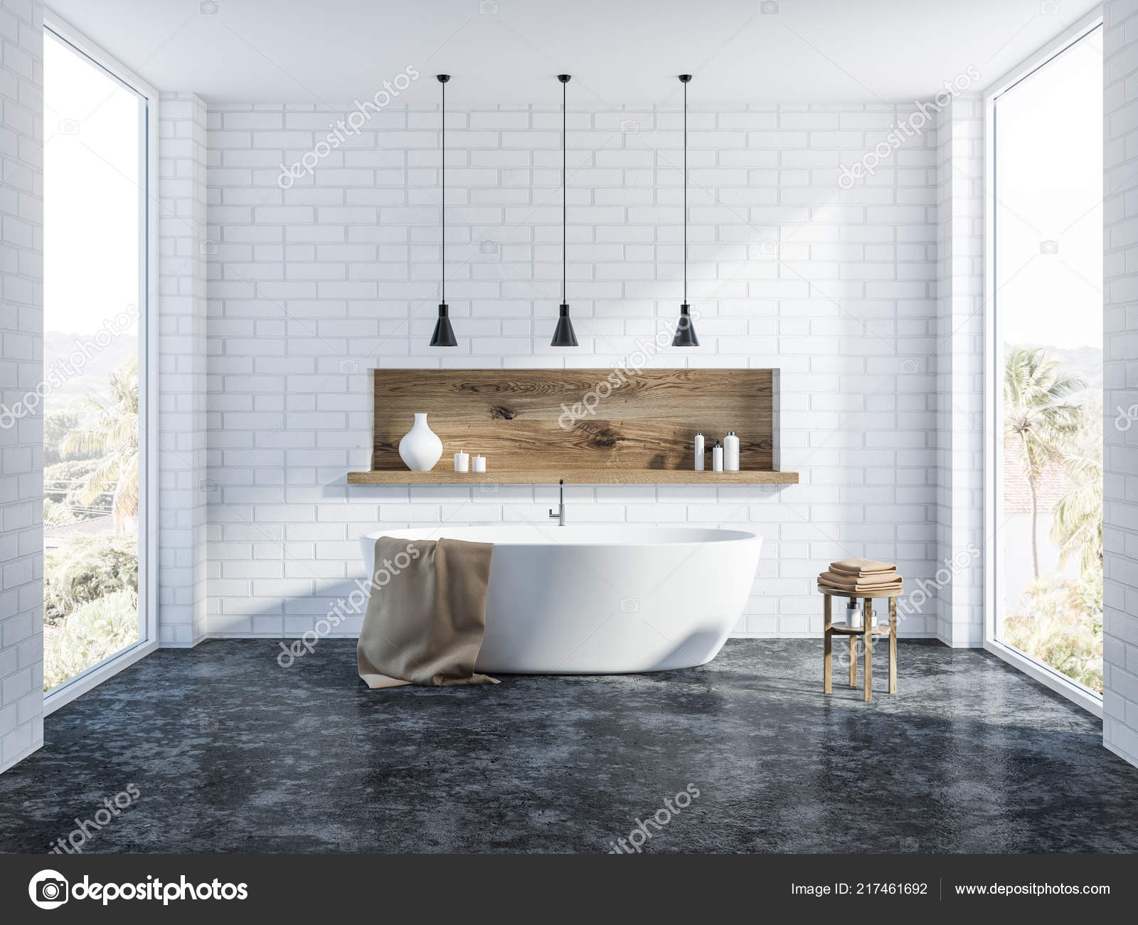 Vasca Da Bagno In Cemento : Interiore stanza bagno mattoni bianchi con pavimento cemento una