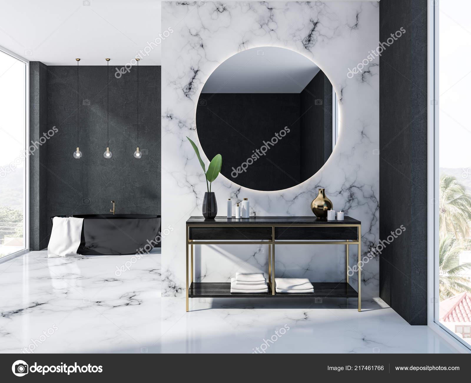 Marbre Blanc Intérieur Noir Salle Bain Avec Baignoire Miroir ...