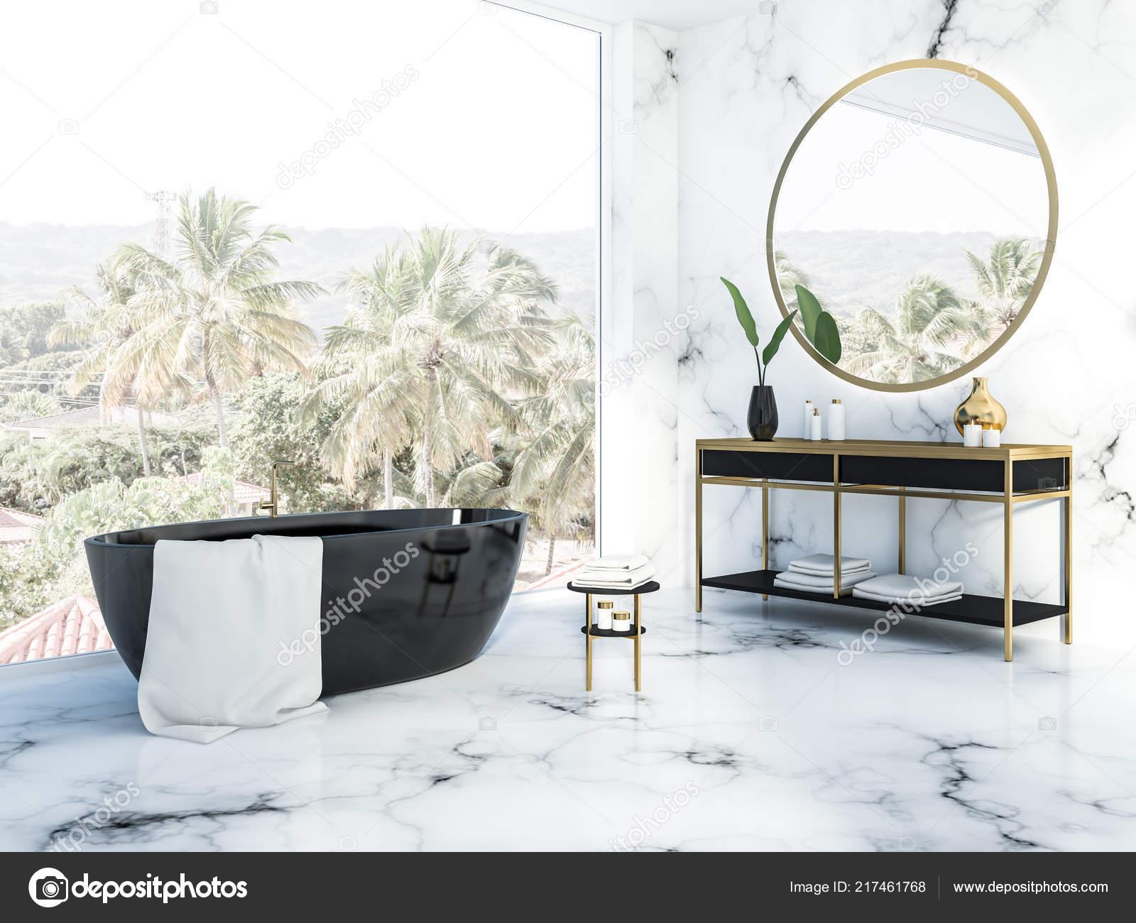 Vasca Da Bagno Marmo : Angolo del bagno marmo bianco con una vasca bagno nera u foto