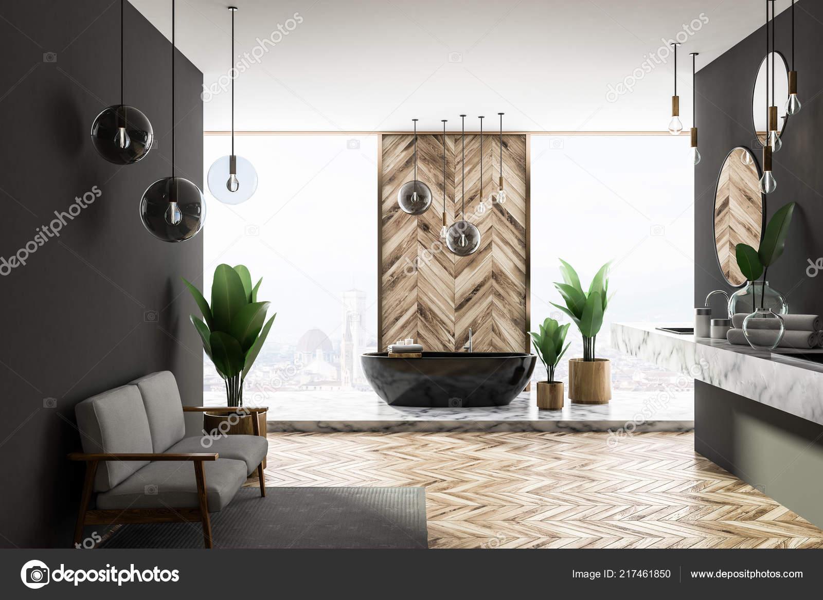 Holzfußboden Grau ~ Innere des luxus badezimmer mit grau und hölzerne wände