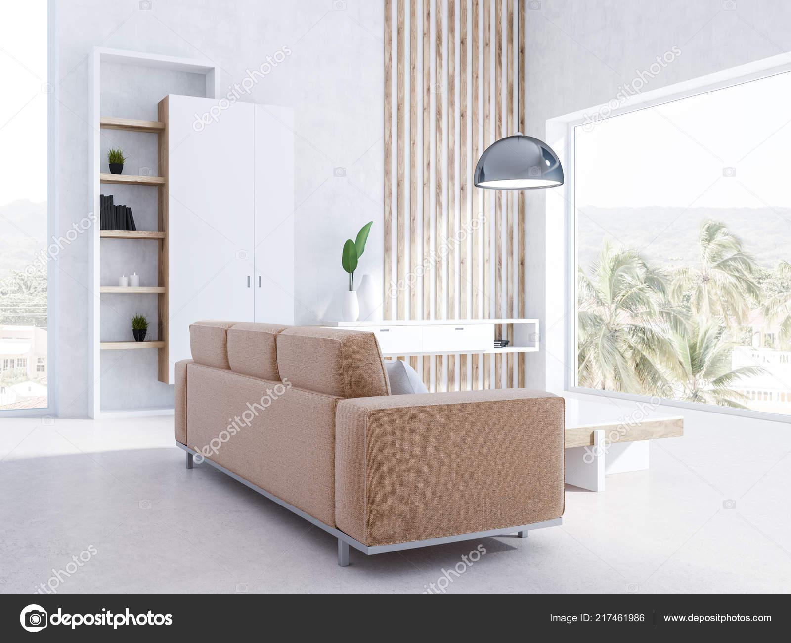 Weisse Wohnzimmer Interieur Mit Panoramafenstern Ein Beige Sofa