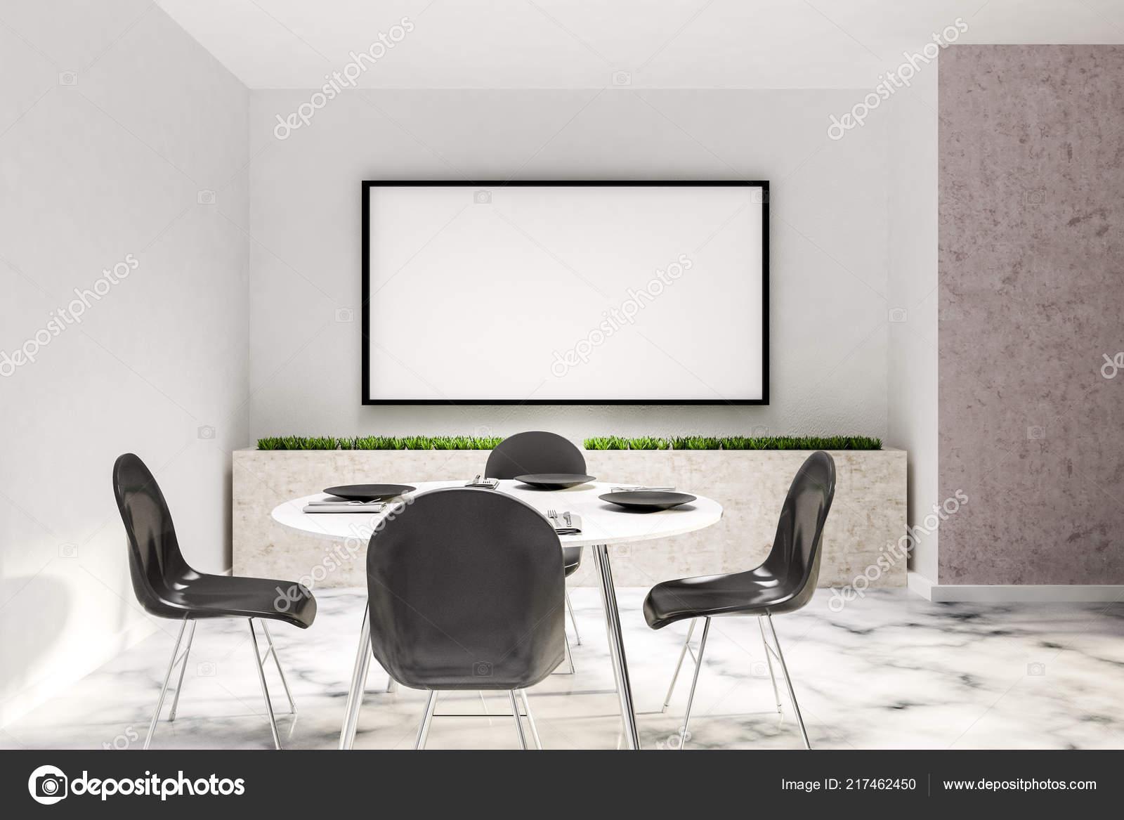 Witte Ronde Eettafel Met Stoelen.Eetkamer Wit Interieur Met Witte Marmeren Vloer Witte Ronde Tafel