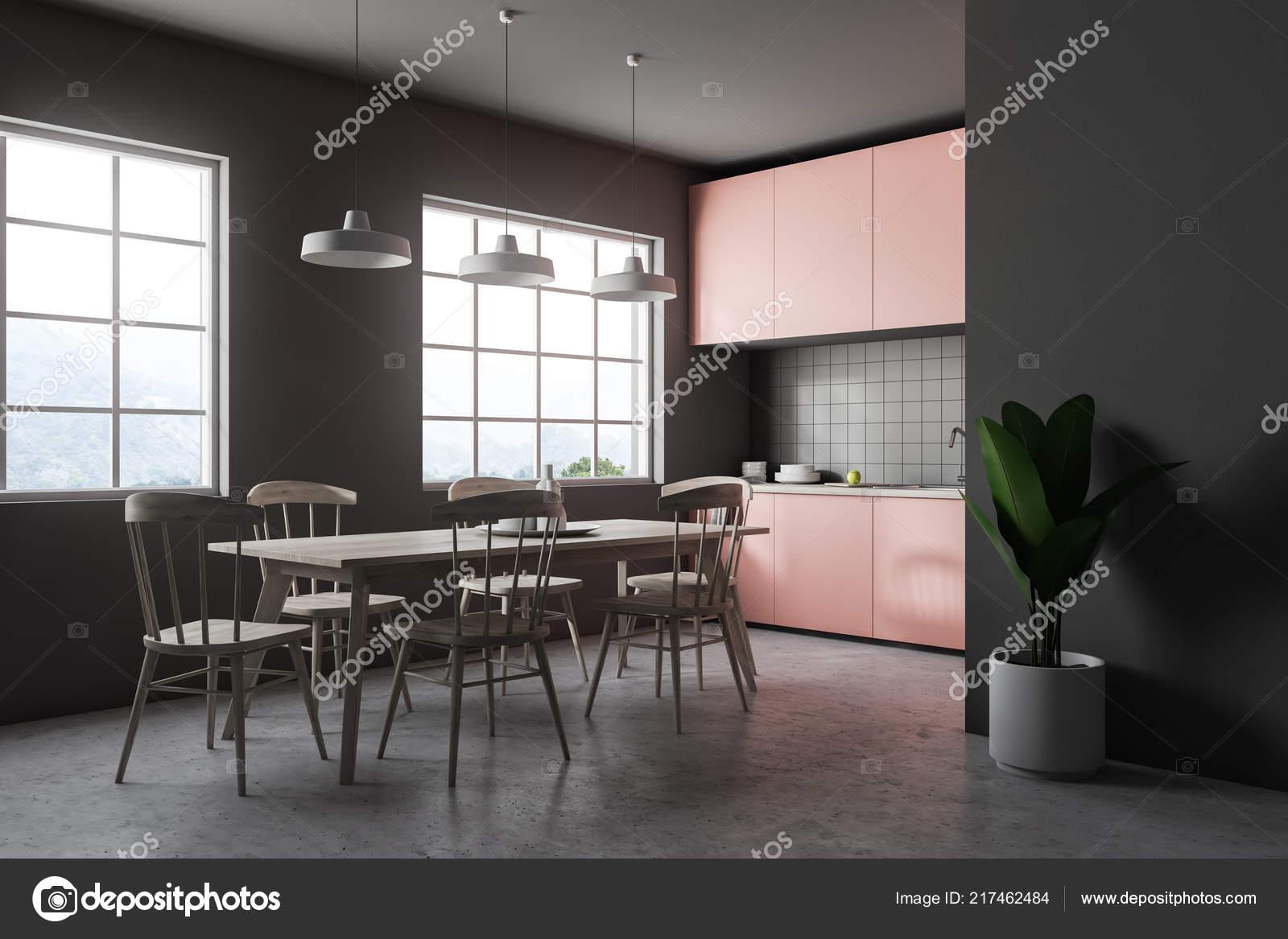 Intérieur Gris Carrelage Cuisine Avec Sol Béton Grandes Fenêtres ...