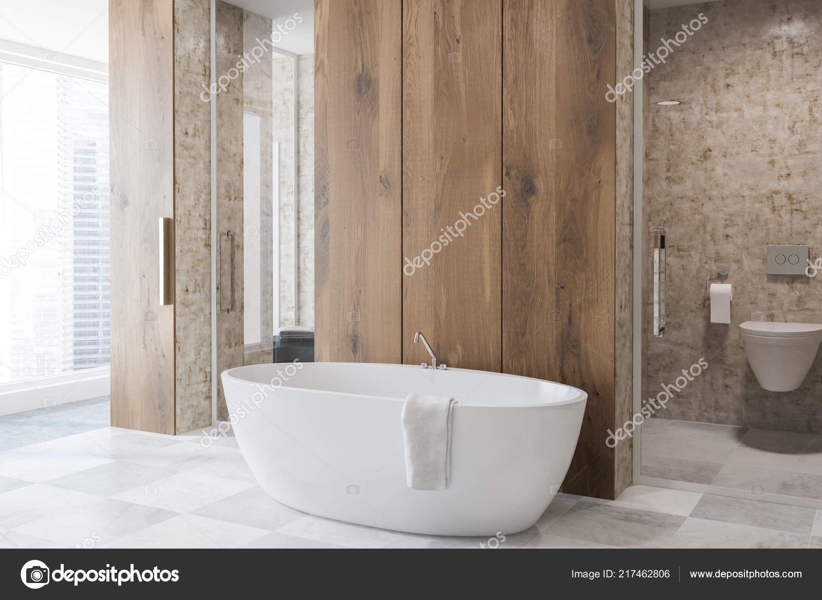 Vasca Da Bagno Verticale : Vista laterale della stanza bagno lusso con pareti legno bianchi