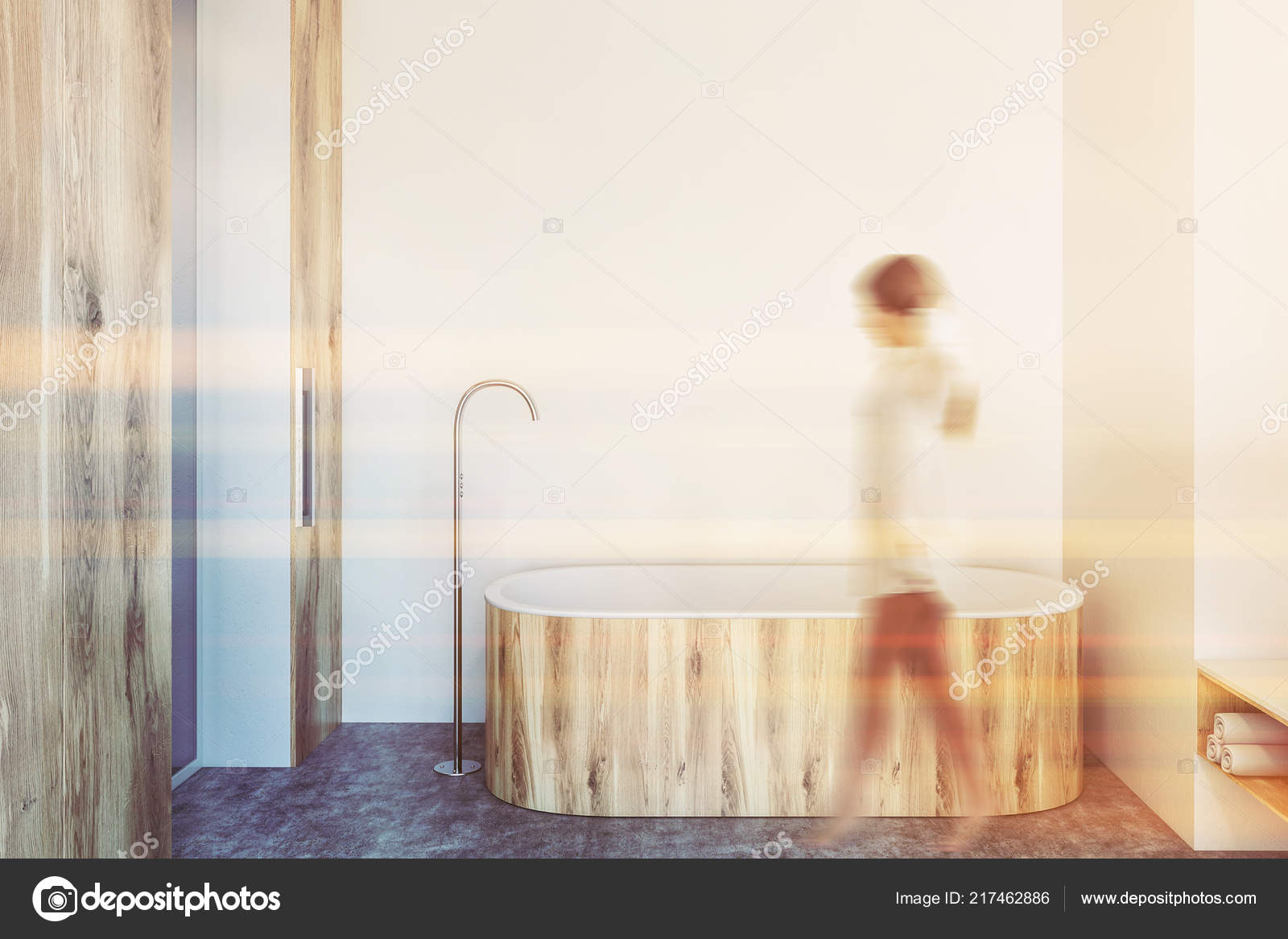 Interior Luxury Bathroom White Walls Concrete Floor Wooden Bathtub Vertical Stock Photo C Denisismagilov 217462886