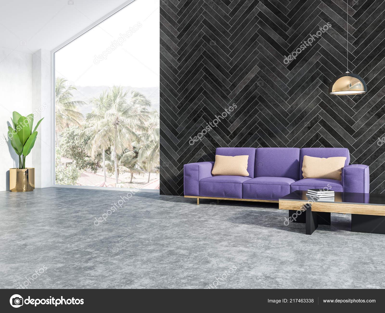 Black Wood Attic Living Room Interior Concrete Floor Purple ...