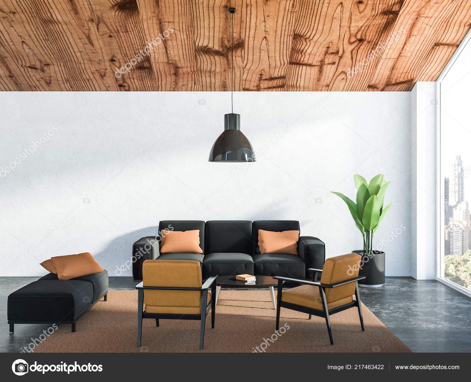 Fantastic Interior Living Room White Walls Concrete Floor Black Couch Evergreenethics Interior Chair Design Evergreenethicsorg
