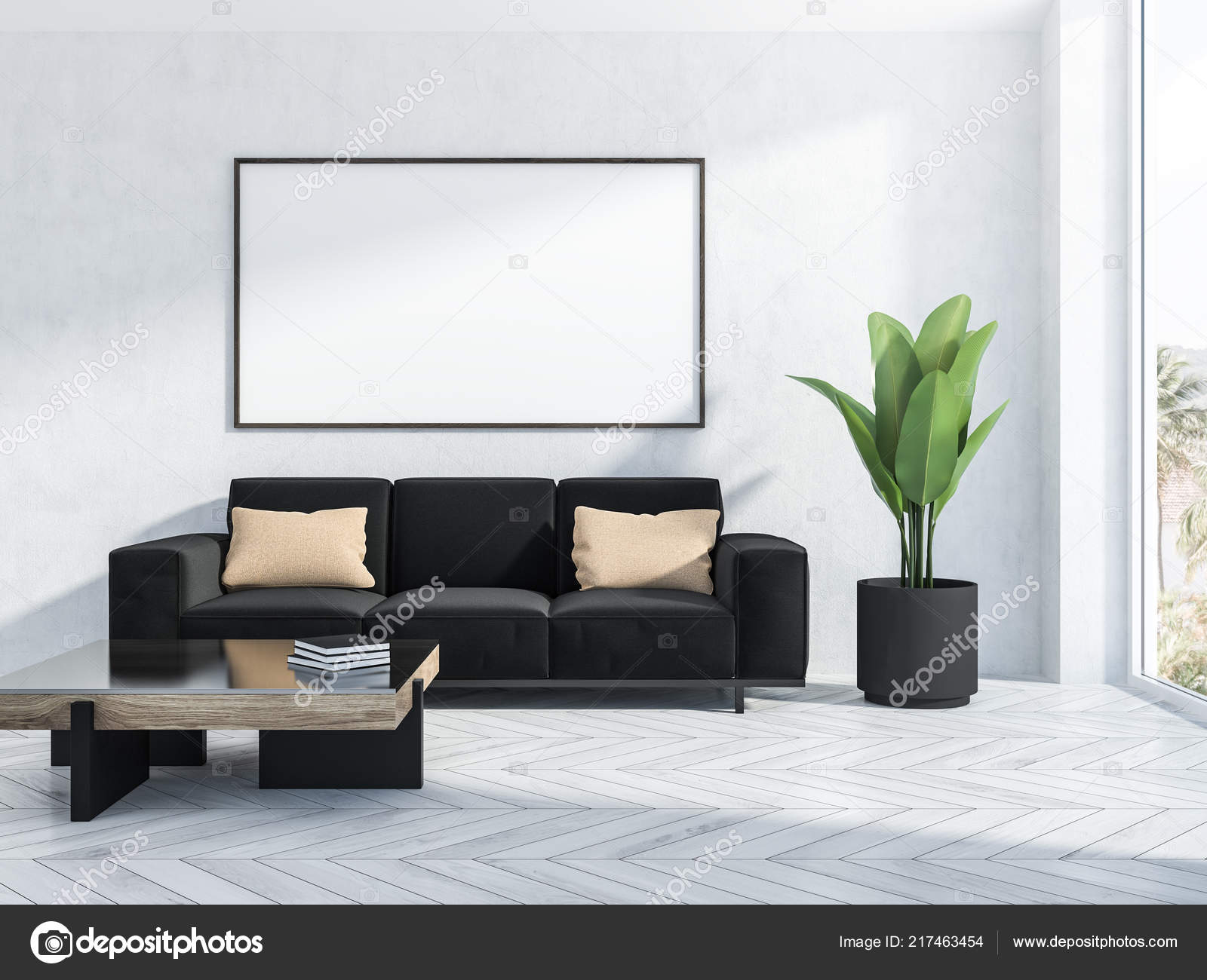 Interior Living Room White Walls White Wooden Floor Black Couch Stock Photo C Denisismagilov 217463454