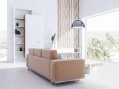 Bílá obývací pokoj interiér s panoramatickými okny, béžové rozkládací, stylový konferenční stolek, knihovna a skříň. Pokud původní tabulka a stropní osvětlení. 3D vykreslování