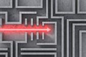 Top-Ansicht der Lava heißen geraden Pfeil brennt durch Beton Wand Labyrinth auf dem Weg zum Ziel. Konzept der Erreichung von Geschäftszielen und der Bewältigung von Herausforderungen. 3D-Rendering