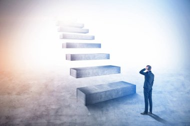 Young businessman scratching his head looking at giant career ladder. Business lifestyle and leadership concept. Toned image copy space stock vector