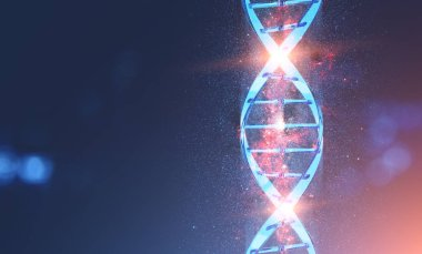 Glowing blue dna helix with tiny galaxy around it over dark blue background. Concept of science and medicine future. 3d rendering toned image double exposure mock up