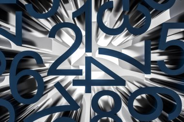 Big dark blue horizontal and vertical numbers over white background. Concept of math, arithmetics and economy. 3d rendering