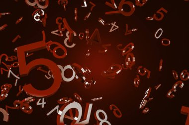 Big dark red numbers falling over red background. Concept of math, arithmetics and economy. 3d rendering