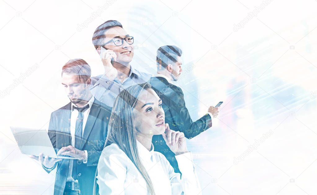 Diverse business team managers with gadgets over blurred cityscape background. Teamwork concept. Toned image double exposure mock up