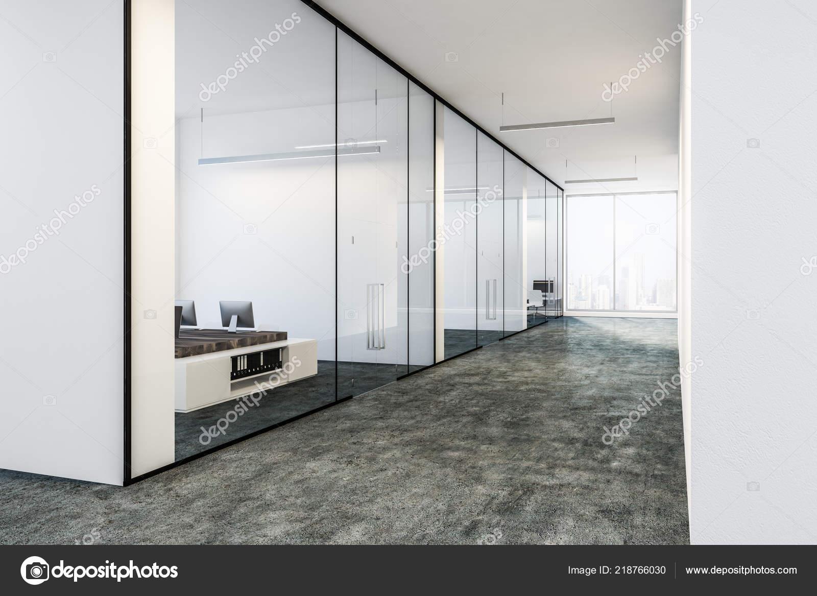 Fußboden Aus Glas ~ Lobby des modernen büros mit weiß und glas wände fußboden