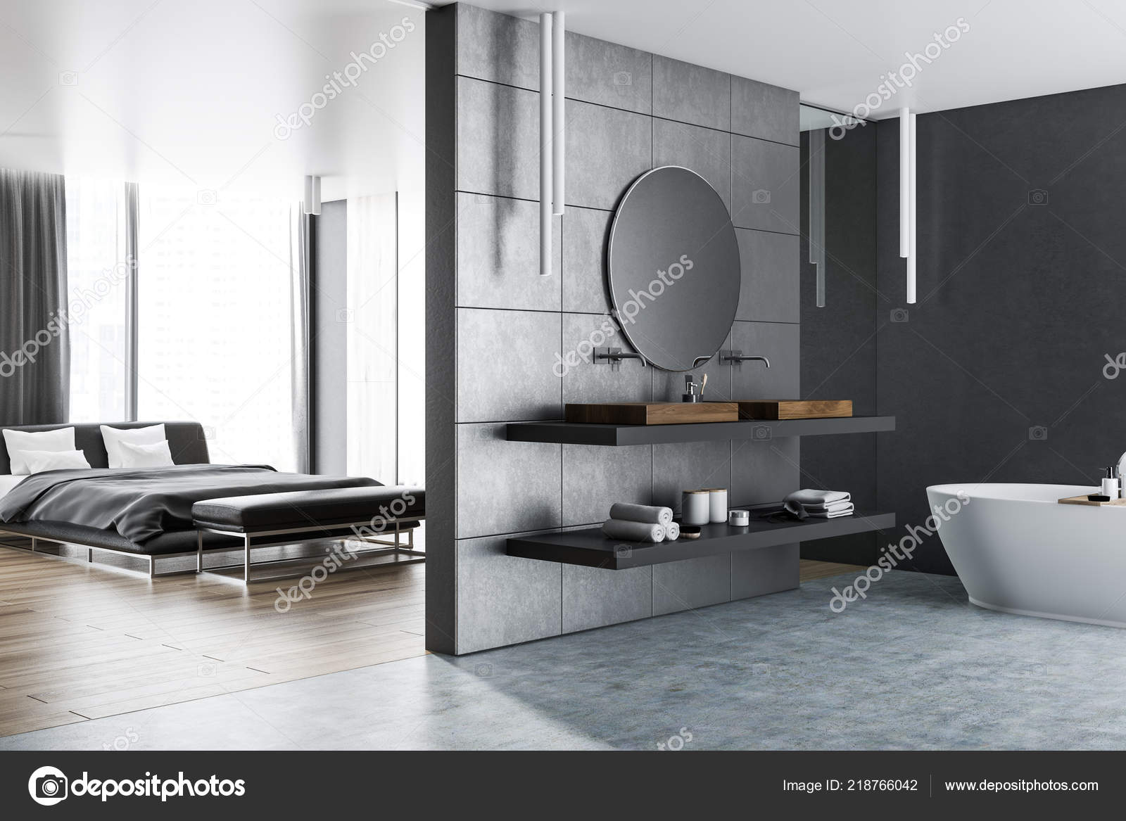 Interior Master Bedroom Bathroom Next Gray Walls Concrete ...