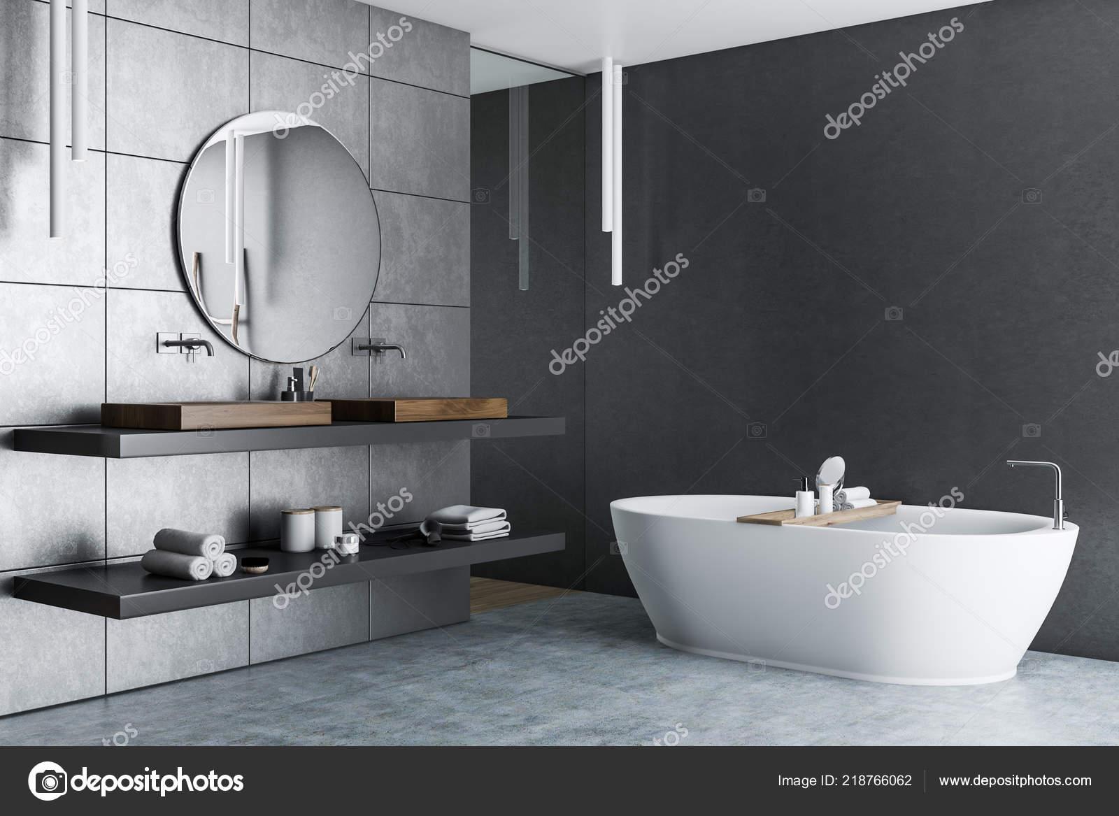 Innere Des Luxus Badezimmer Mit Grauen Fliesen Wände ...
