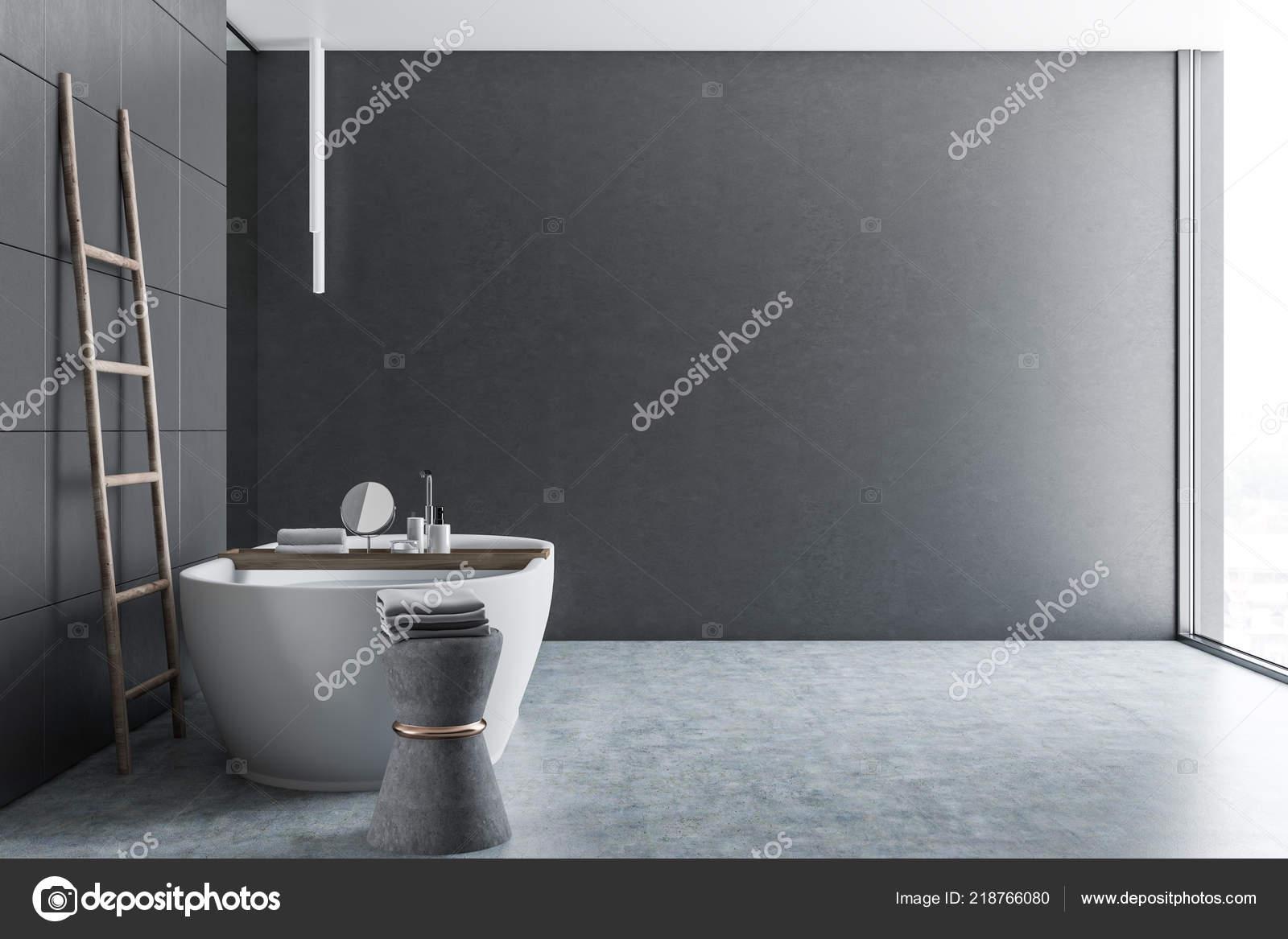 Beton Fußboden Auf Fliesen ~ Seitenansicht des luxus badezimmer mit hellgrauen fliesen wände