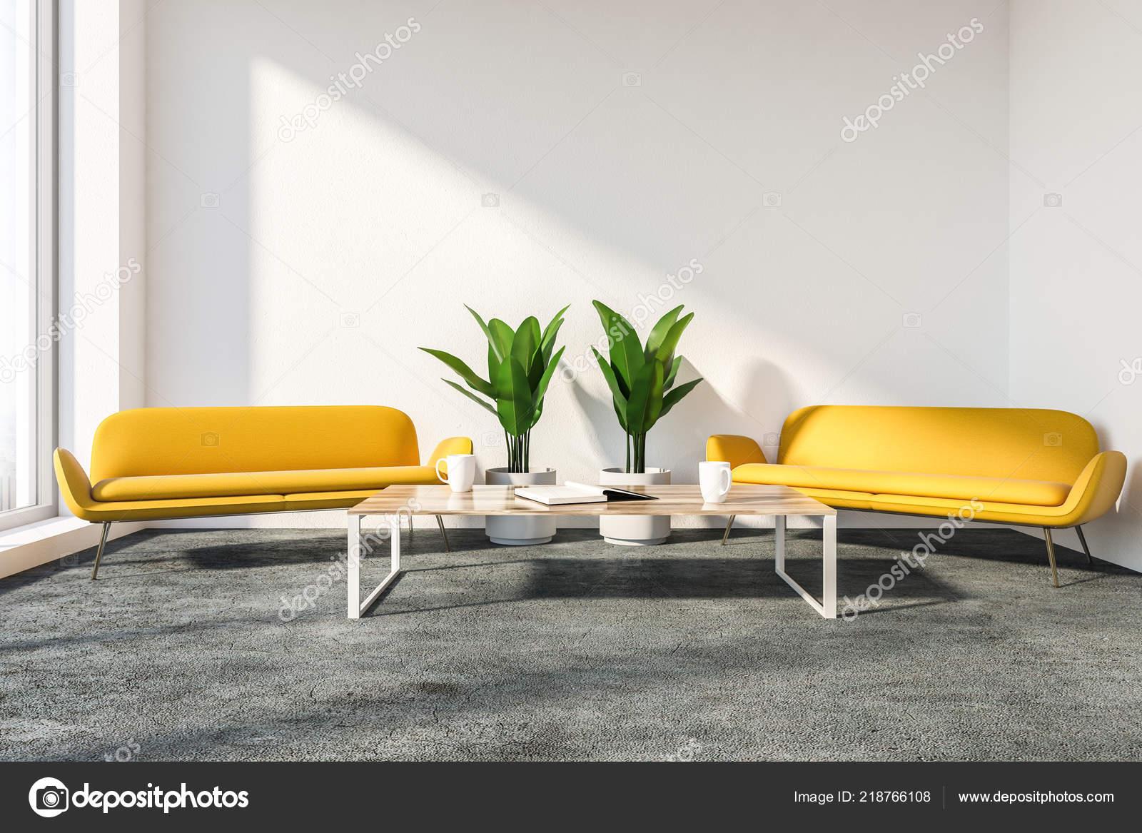 Bureau Style Salon Intérieur Aux Murs Blancs Sol Gris Deux ...