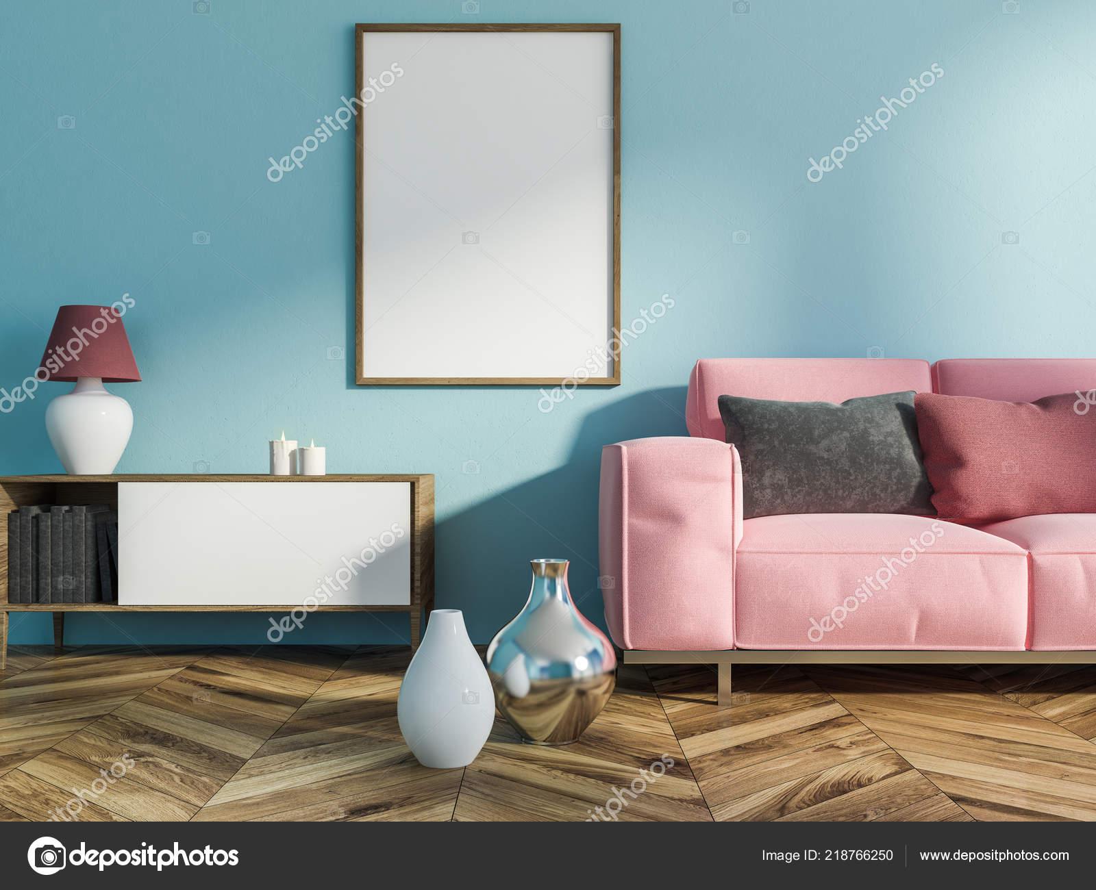 Light Blue Walls Wood Floors Interior Living Room Light Blue
