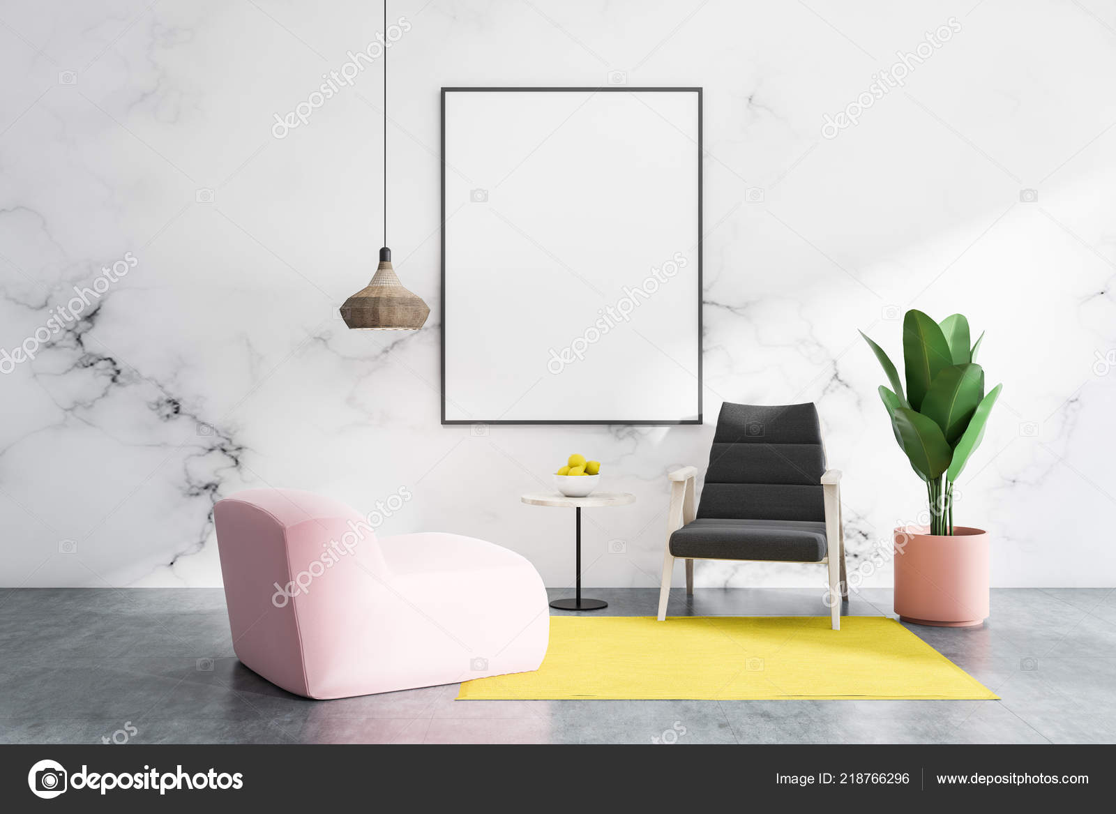 White Marble Living Room Interior Concrete Floor Black Pink Armchairs Stock Photo C Denisismagilov 218766296