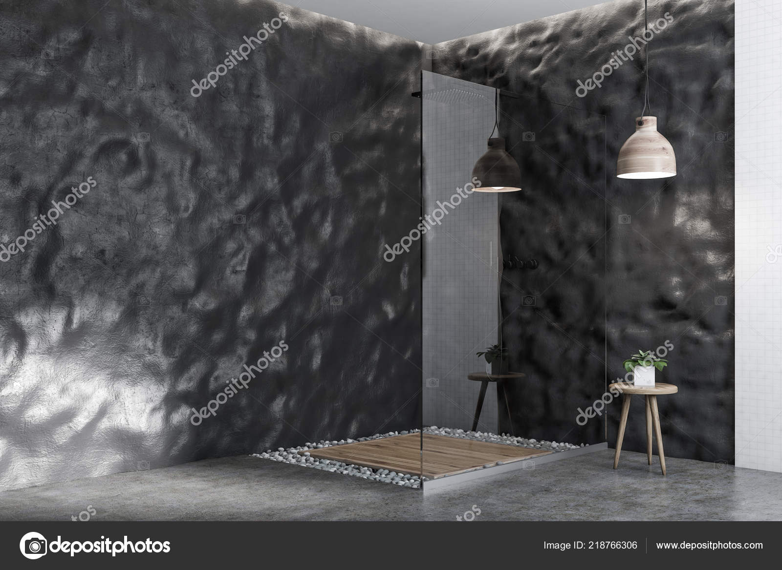 Weisse Fliesen Und Grobe Graue Wand Badezimmer Interieur Mit