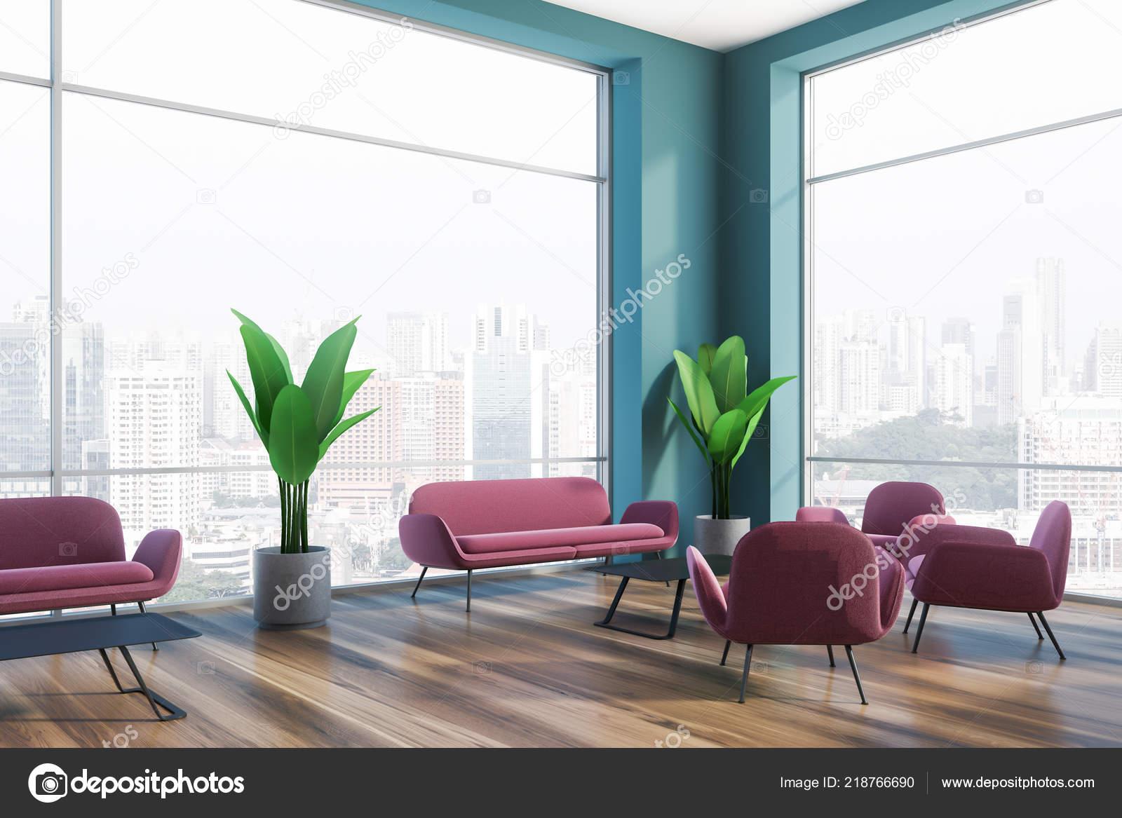 Magnificent Office Lounge Area Blue Green Walls Dark Wooden Floor Big Evergreenethics Interior Chair Design Evergreenethicsorg