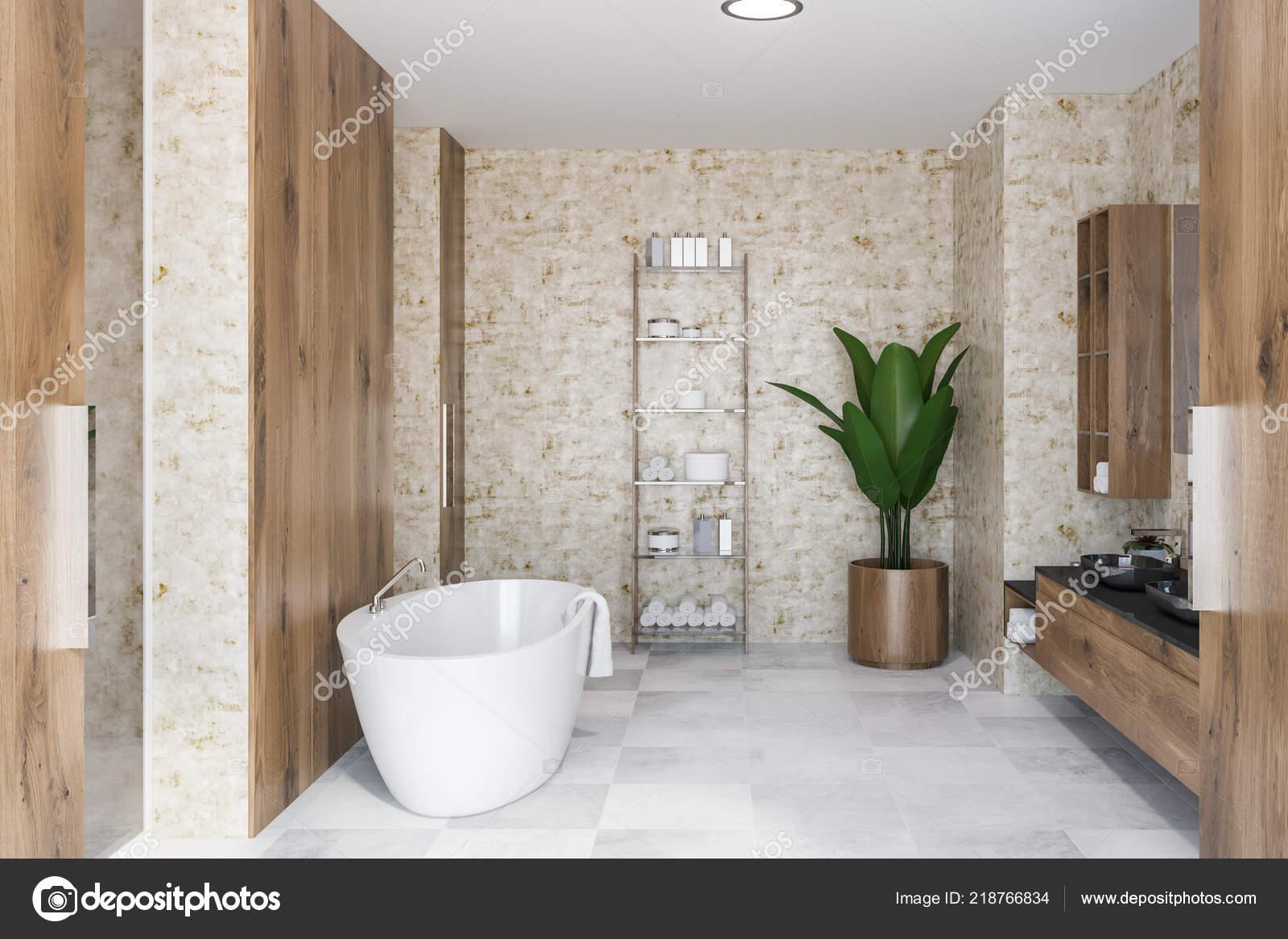 Interno del bagno lusso con pareti legno pavimento piastrelle