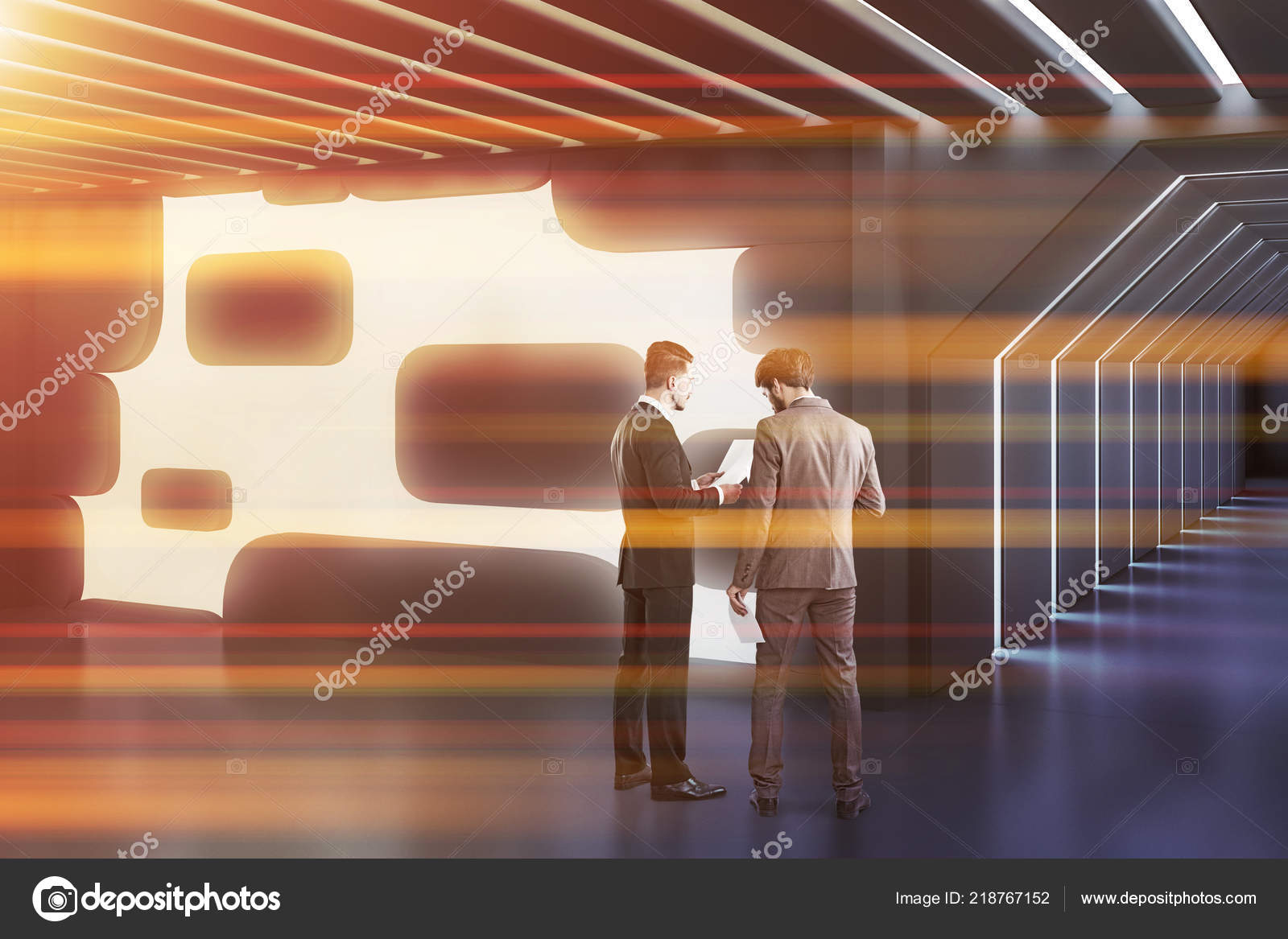 Business People Talking Gray Glowing Wall Futuristic Office ...