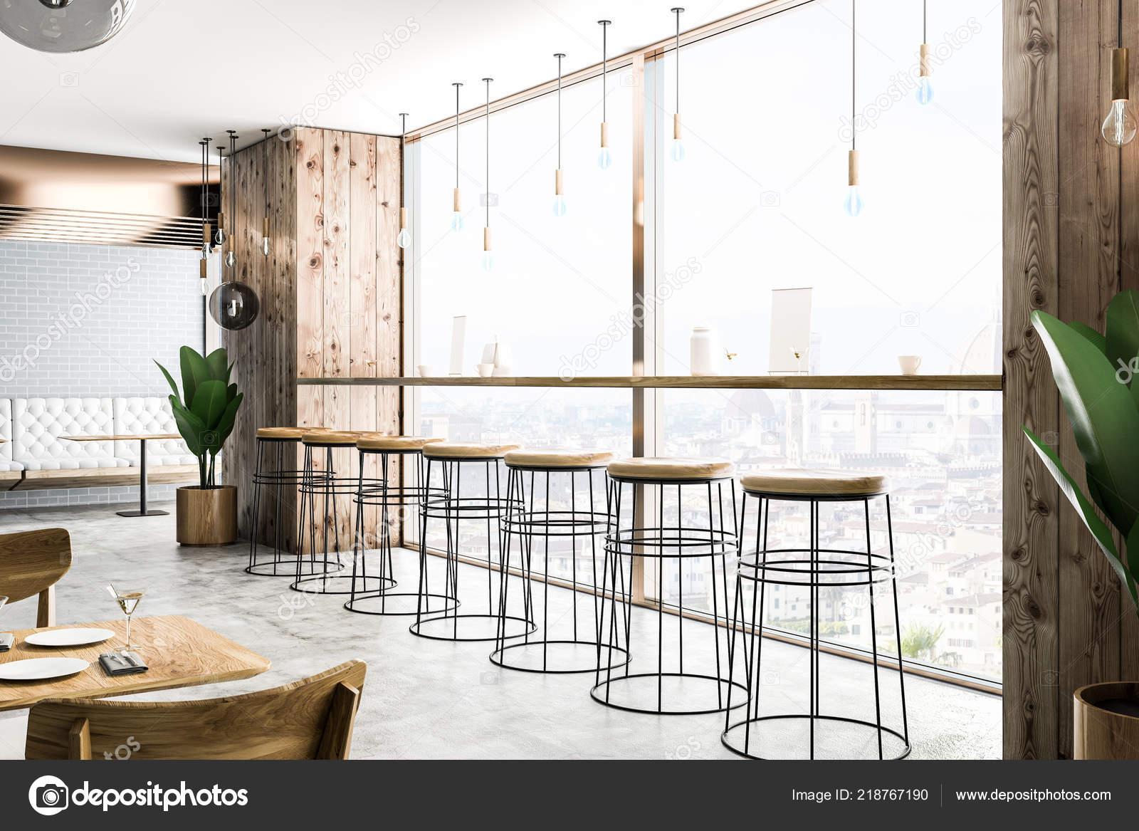 Side View Modern Bar Wooden Walls Concrete Floor Long Bar Stock Photo C Denisismagilov 218767190