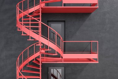 Gray house wall with red spiral fire escape stairs. Concept of having an escape route in business and life. 3d rendering
