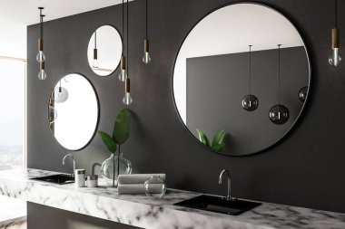 Double sink in marble countertop in gray bathroom interior with three round mirrors and panoramic window. Side view. 3d rendering