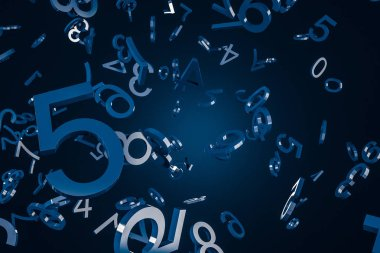 Big dark blue numbers falling over blue background. Concept of math, arithmetics and economy. 3d rendering