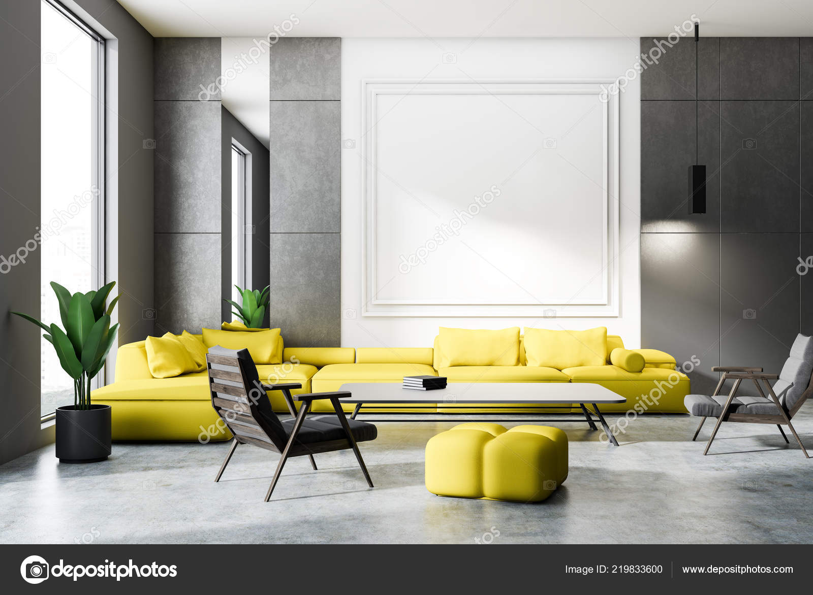 Living Room Interior 3D Yellow Grey